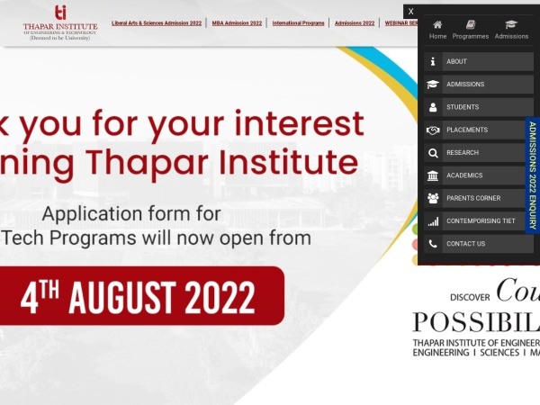 Screenshot of www.thapar.edu