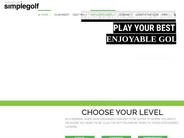 Screenshot of www.theartofsimplegolf.com