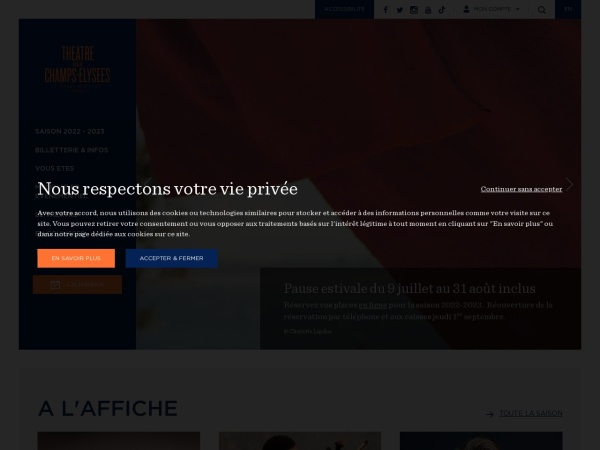 Screenshot of www.theatrechampselysees.fr