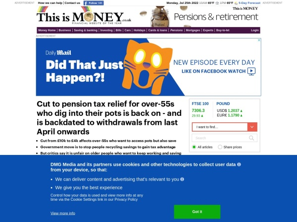 Screenshot of www.thisismoney.co.uk