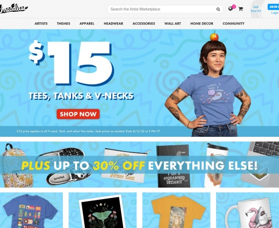Screenshot of www.threadless.com