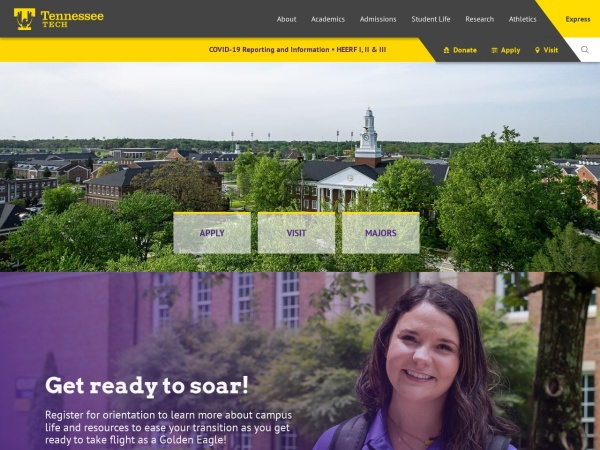 Screenshot of www.tntech.edu