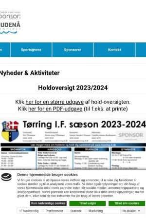 Screenshot of www.toerring-if.dk