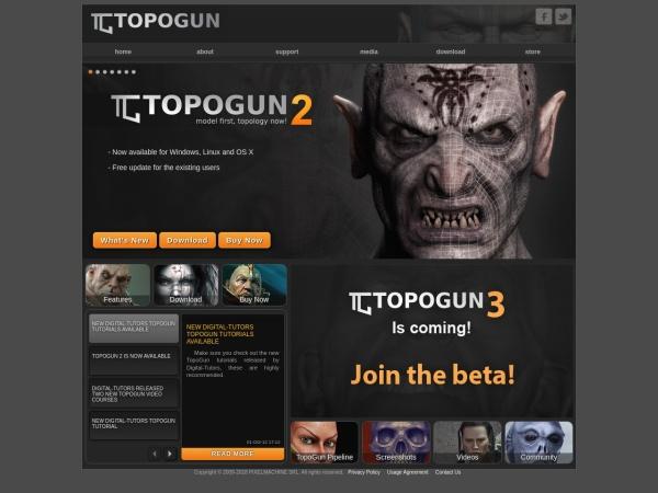 Screenshot of www.topogun.com