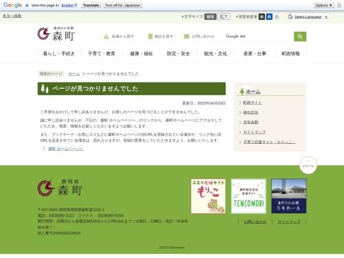 Screenshot of www.town.morimachi.shizuoka.jp