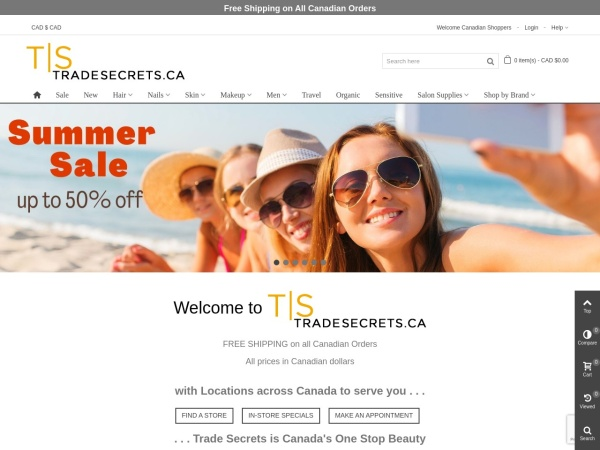 Screenshot of www.tradesecrets.ca