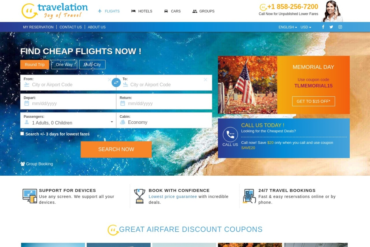 Screenshot of www.travelation.com
