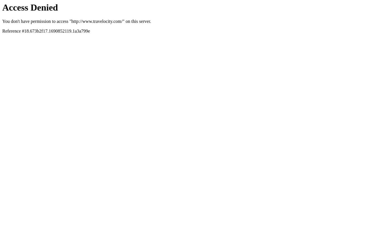Screenshot of www.travelocity.com