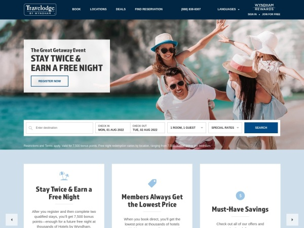 Screenshot of www.travelodge.ca