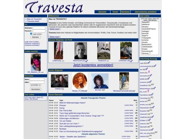 Screenshot von www.travesta.de