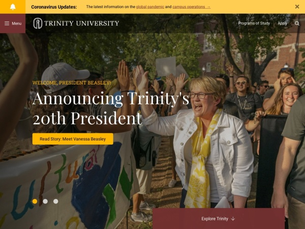 Screenshot of www.trinity.edu
