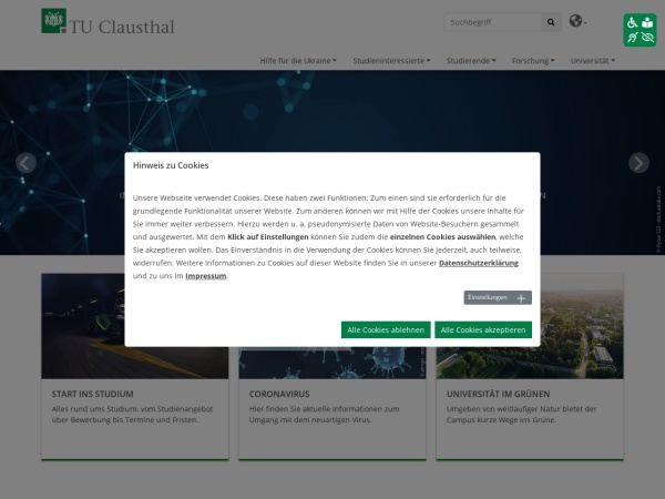 Screenshot of www.tu-clausthal.de