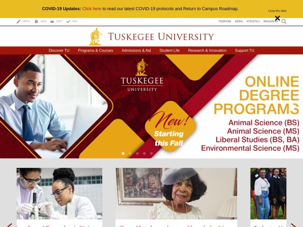 Screenshot of www.tuskegee.edu