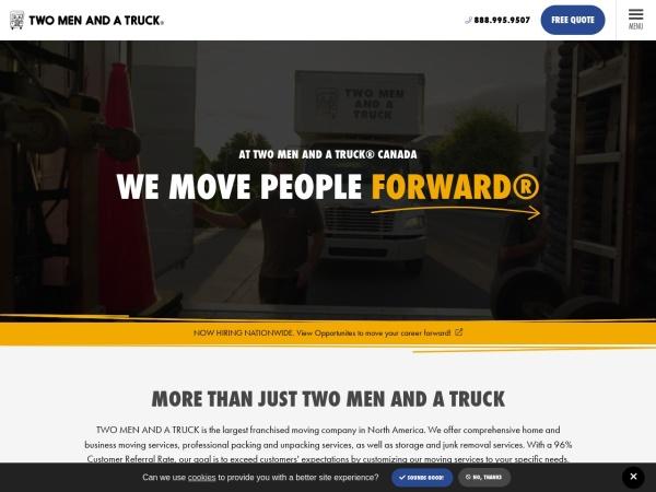 Screenshot of www.twomenandatruck.ca