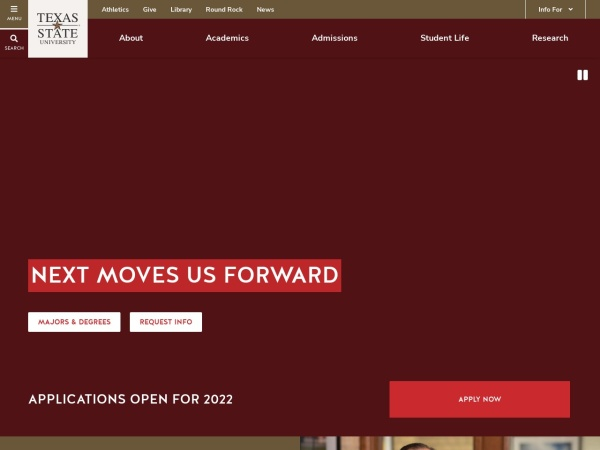 Screenshot of www.txstate.edu