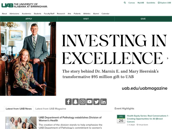Screenshot of www.uab.edu