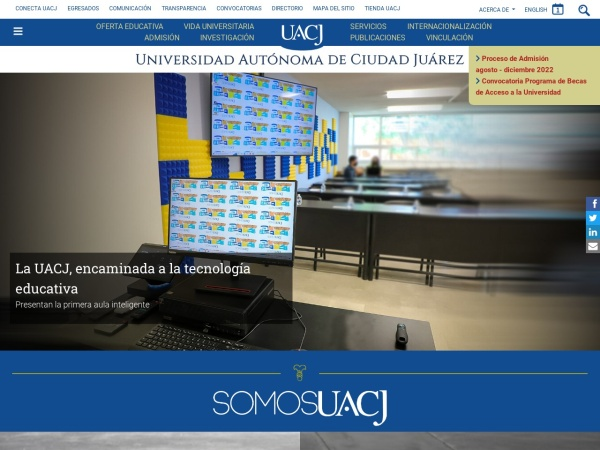 Screenshot of www.uacj.mx