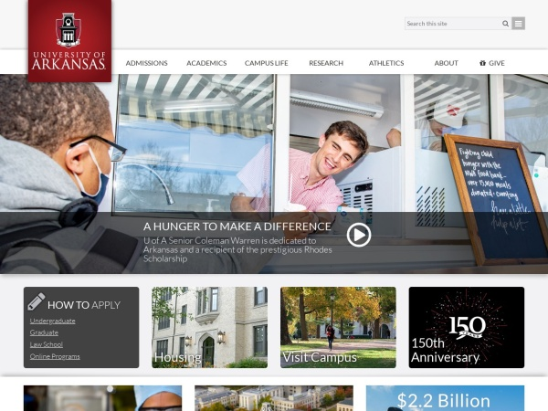 Screenshot of www.uark.edu