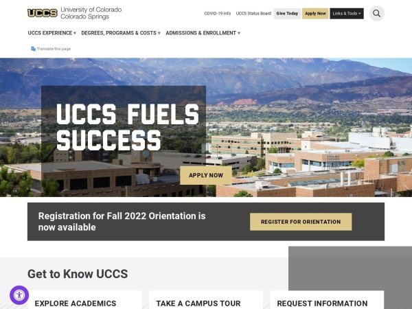 Screenshot of www.uccs.edu