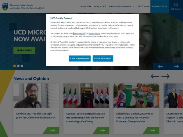 Screenshot of www.ucd.ie