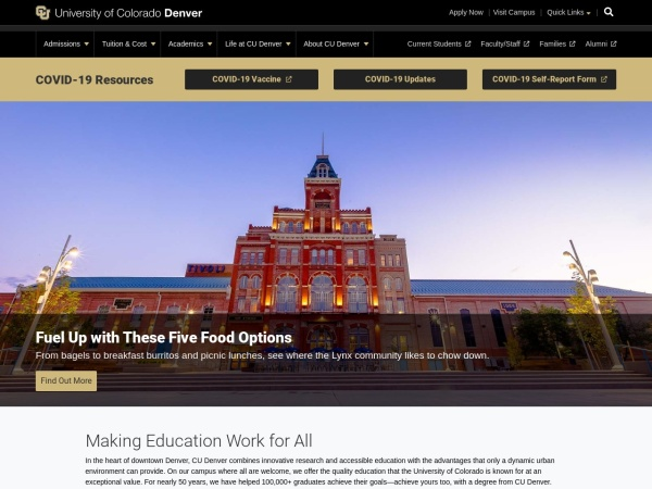 Screenshot of www.ucdenver.edu