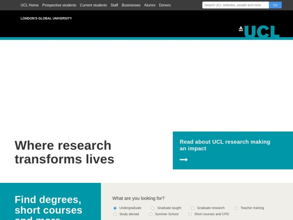 Screenshot of www.ucl.ac.uk