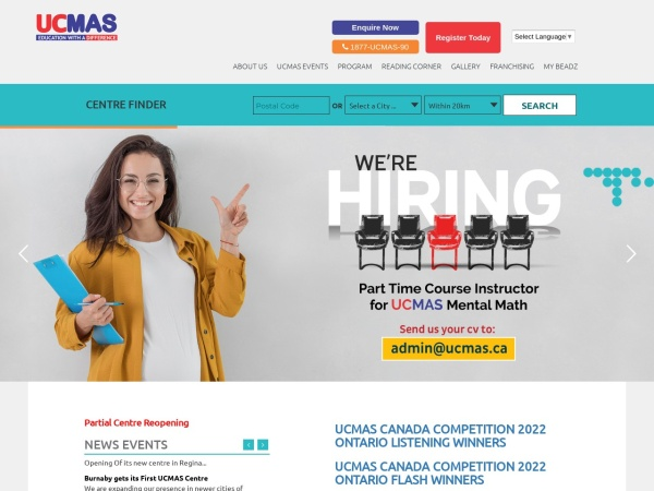 Screenshot of www.ucmas.ca