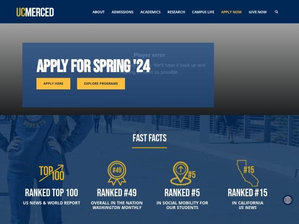 Screenshot of www.ucmerced.edu