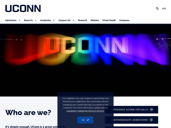 Screenshot of www.uconn.edu