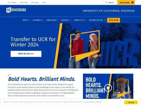 Screenshot of www.ucr.edu