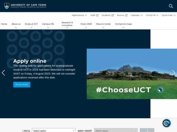 Screenshot of www.uct.ac.za