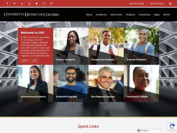Screenshot of www.udc.edu