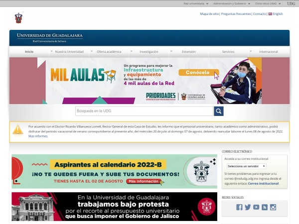 Screenshot of www.udg.mx