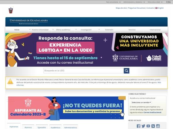 Screenshot of www.udg.mx