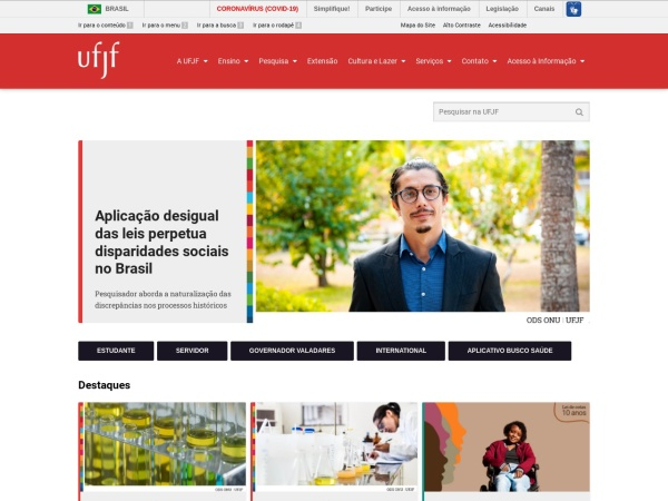 Screenshot of www.ufjf.br