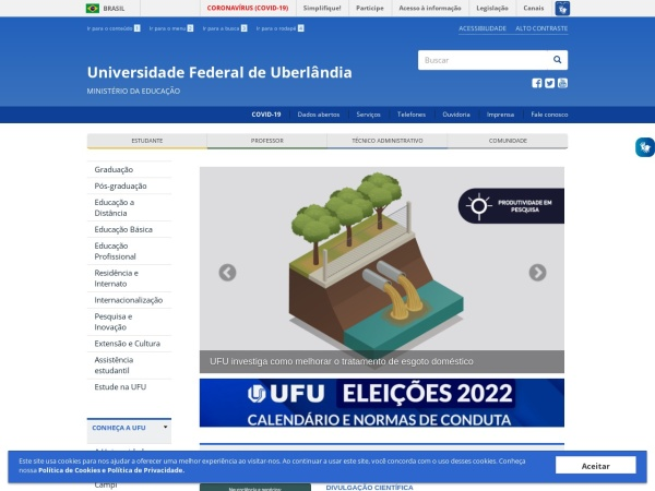 Screenshot of www.ufu.br