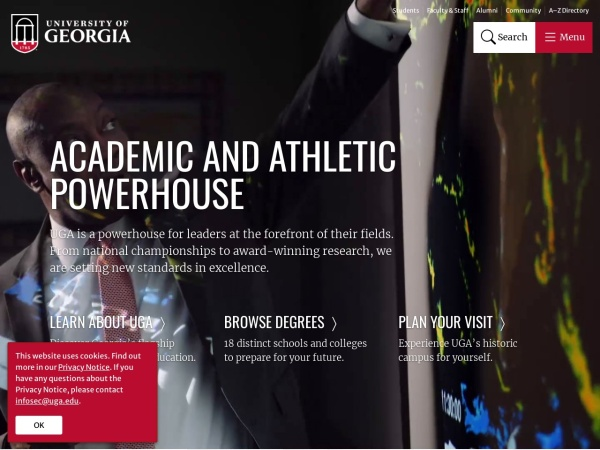 Screenshot of www.uga.edu