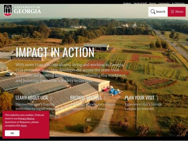 Screenshot of www.uga.edu