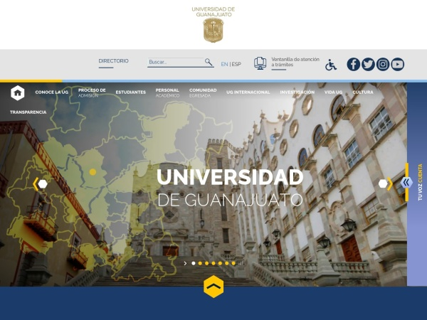 Screenshot of www.ugto.mx