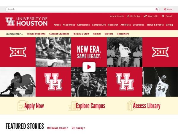 Screenshot of www.uh.edu