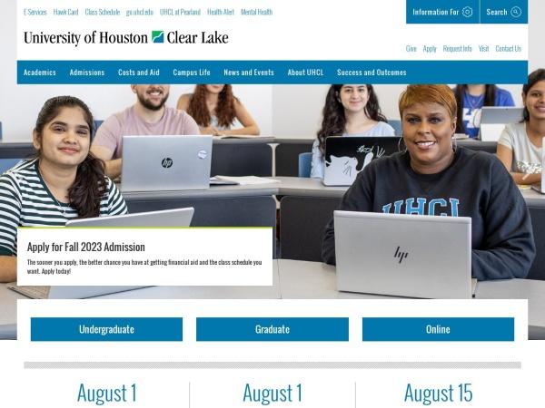 Screenshot of www.uhcl.edu