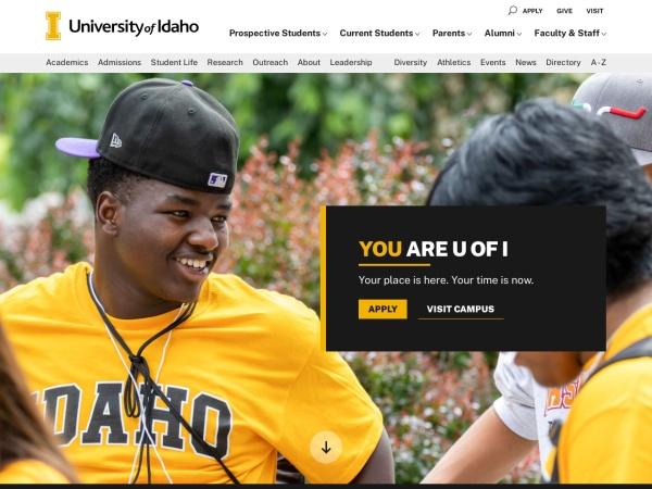 Screenshot of www.uidaho.edu
