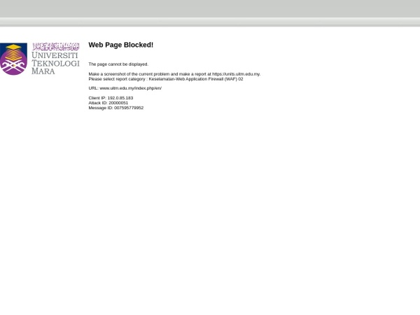 Screenshot of www.uitm.edu.my