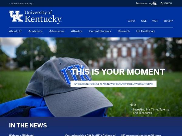Screenshot of www.uky.edu