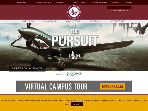 Screenshot of www.ulm.edu