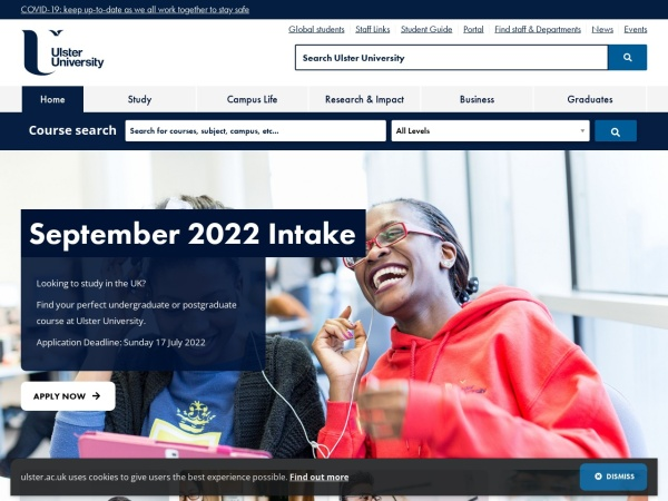 Screenshot of www.ulster.ac.uk