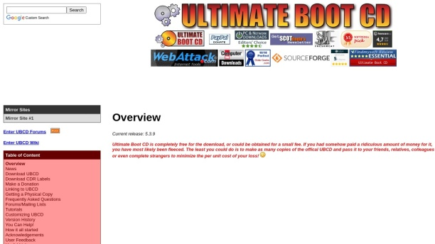 Screenshot of www.ultimatebootcd.com