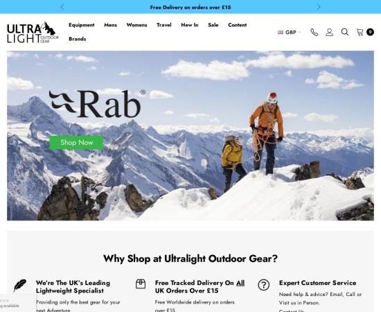 Screenshot of www.ultralightoutdoorgear.co.uk