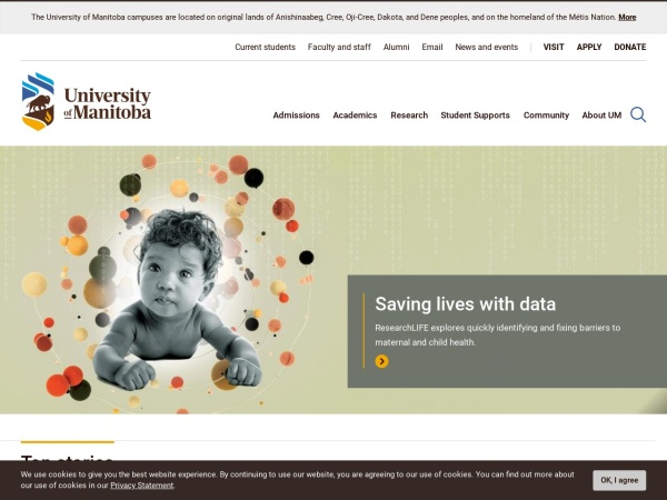 Screenshot of www.umanitoba.ca