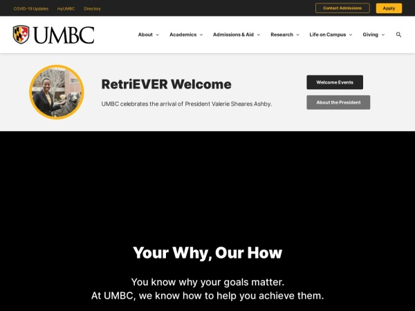 Screenshot of www.umbc.edu